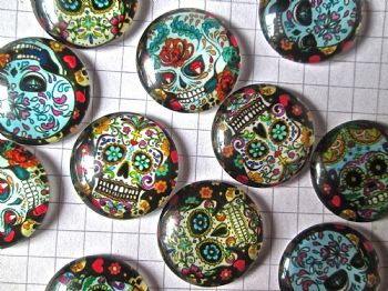 12 Assorted Sugar Skull Glass Dome Shaped Cabochons  Day of the Dead Halloween